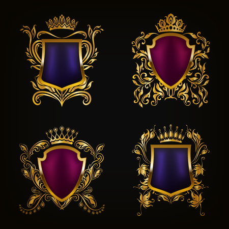 crown logo: Set of golden royal shields for graphic design on black background. Old graceful frame,  border, crown, floral elements in vintage style for icon, label, emblem, badge, logo. Vector illustration EPS10 Illustration