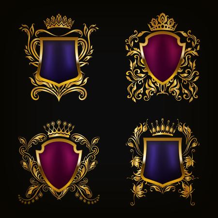 Set of golden royal shields for graphic design on black background. Old graceful frame,  border, crown, floral elements in vintage style for icon, label, emblem, badge, logo. Vector illustration EPS10 Illustration