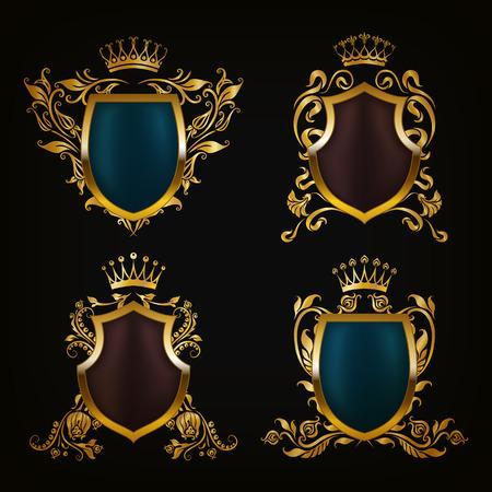 Set of golden royal shields for graphic design on black background. Old graceful frame,  border, crown, floral elements in vintage style for icon, label, emblem, badge, logo. Vector illustration