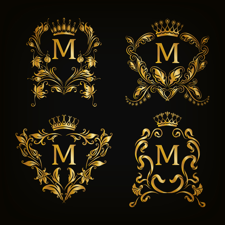 Set of gold monogram for graphic design on black background. Royal graceful frame, filigree border, crown, floral element in vintage style for wedding invitation, card, logo. Vector illustration