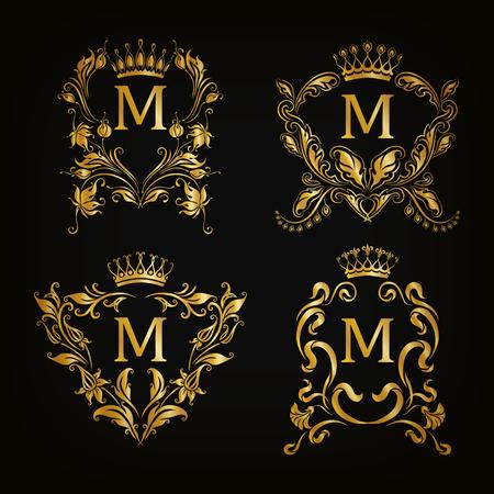 Set van gouden monogram voor grafisch ontwerp op een zwarte achtergrond. Royal sierlijke frame, filigraan grens, kroon, bloemen element in vintage stijl voor bruiloft uitnodiging, kaart, logo. Vector illustratie