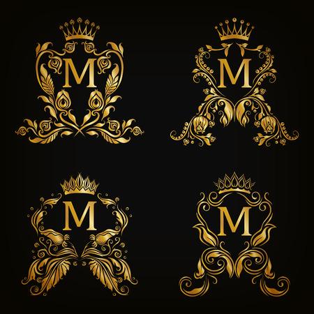 Set of gold monogram for graphic design on black background. Royal graceful frame, filigree border, crown, floral element in vintage style for wedding invitation, card, logo. Vector illustration EPS10