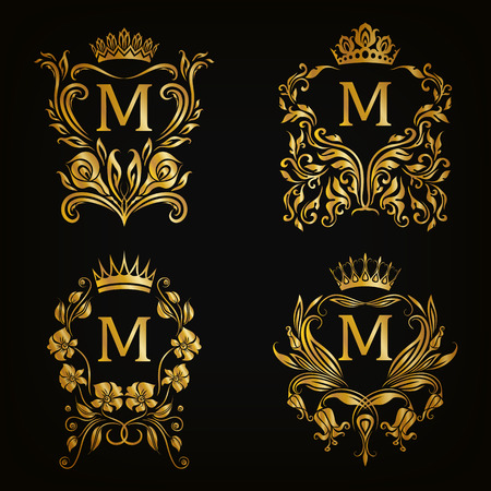 Set of gold monogram for graphic design on black background. Royal graceful frame, filigree border, crown, floral element in vintage style for wedding invitation, card, logo. Vector illustration EPS10