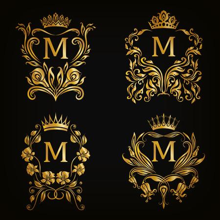 Set van gouden monogram voor grafisch ontwerp op een zwarte achtergrond. Royal sierlijke frame, filigraan grens, kroon, bloemen element in vintage stijl voor bruiloft uitnodiging, kaart, logo. Vector illustratie EPS10