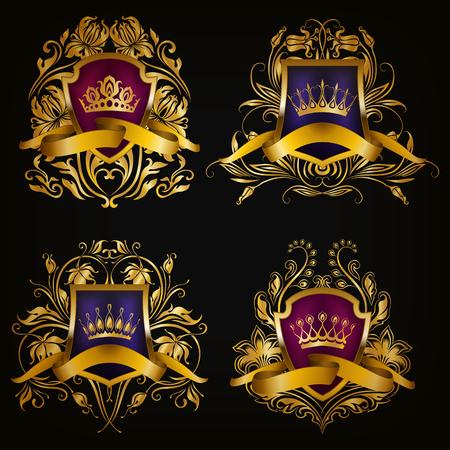 royal logo: Set of golden royal shields for graphic design on black background. Old graceful frame,  border, crown, floral element, ribbon in vintage style for icon, label, emblem, badge, logo. Illustration EPS10