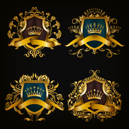 medieval: Set of golden royal shields for graphic design on black background. Old graceful frame,  border, crown, floral element, ribbon in vintage style for icon, label, emblem, badge, logo. Illustration EPS10
