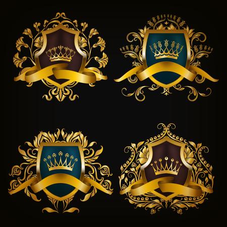 Set of golden royal shields for graphic design on black background. Old graceful frame,  border, crown, floral element, ribbon in vintage style for icon, label, emblem, badge, logo. Illustration EPS10
