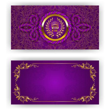 Elegant sjabloon voor luxe uitnodiging, gift card met touw decor, kant ornament, kroon, lint, lauwerkrans, gordijnstof, plaats voor tekst. Bloemen elementen, overladen achtergrond. Illustratie