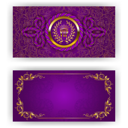 Elegant template for luxury invitation, gift card with rope decor, lace ornament, crown, ribbon, laurel wreath, drapery fabric, place for text. Floral elements, ornate background. Illustration