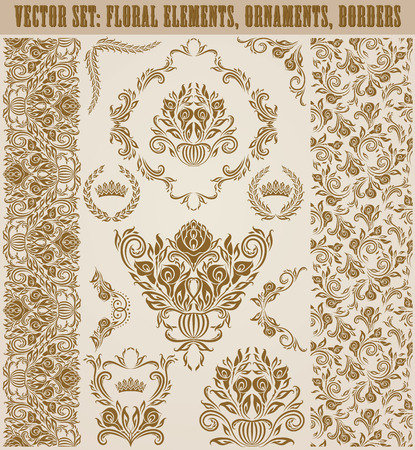decoration style: Set of vector damask ornaments. Hand-drawn floral elements, seamless patterns, borders, arabesque, crowns, laurel wreaths for design. Page decoration in vintage style.