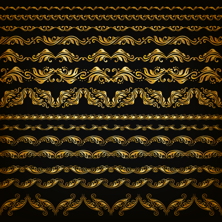 decorative pattern: Set of horizontal golden lace pattern, decorative elements, borders for design. Seamless hand-drawn floral ornament on black background. Page, web site decoration. Vector illustration EPS 10.