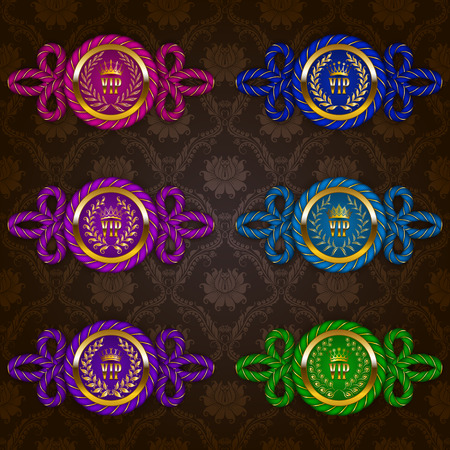premium member: Set of ornate luxury vintage frames, badges with rope decor, crowns, laurel wreaths, ribbons for design of invitations, greeting, vip, gift cards, labels, emblems, stickers. Vector illustration EPS 10 Illustration