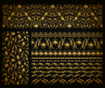 art design: Set of horizontal golden lace pattern, decorative elements, borders for design. Seamless hand-drawn floral ornament on black background. Page, web site decoration. Vector illustration EPS 10.