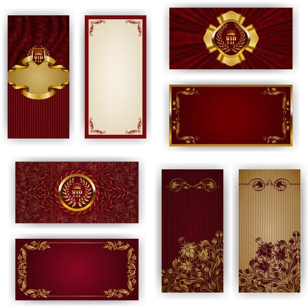 tarjeta de invitacion: Conjunto de plantilla elegante de la invitaci�n del vip de lujo, saludo, tarjeta de regalo con adornos de encaje, corona, cinta, drapery, el lugar de texto. Elementos florales, fondo adornado. Ilustraci�n del vector EPS 10 Vectores