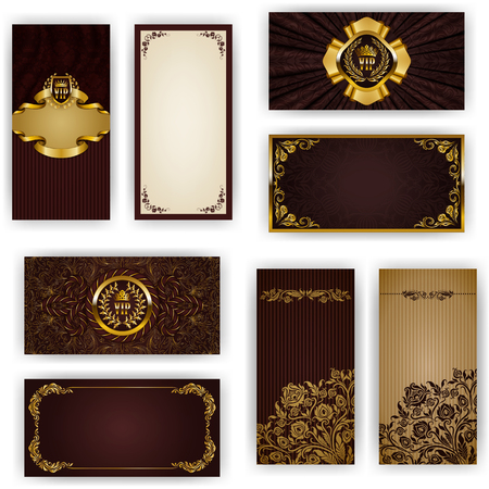 invitation card: Set of elegant template for vip luxury invitation, greeting, gift card with lace ornament, crown, ribbon, drapery fabric, place for text. Floral elements, ornate background. Vector illustration EPS 10