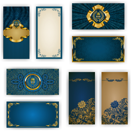 floral elements: Set of elegant template for vip luxury invitation, greeting, gift card with lace ornament, crown, ribbon, drapery fabric, place for text. Floral elements, ornate background. Vector illustration EPS 10