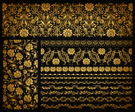 black background abstract: Set of horizontal golden lace pattern, decorative elements, borders for design. Seamless hand-drawn floral ornament on black background. Page, web site decoration. Vector illustration EPS 10.