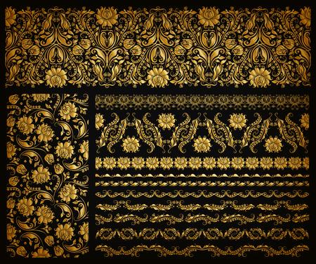 Set van horizontale gouden kant patroon, decoratieve elementen, grenzen voor ontwerp. Naadloze hand getekende bloemen versiering op een zwarte achtergrond. Pagina website decoratie. Vector illustratie eps 10. Stock Illustratie