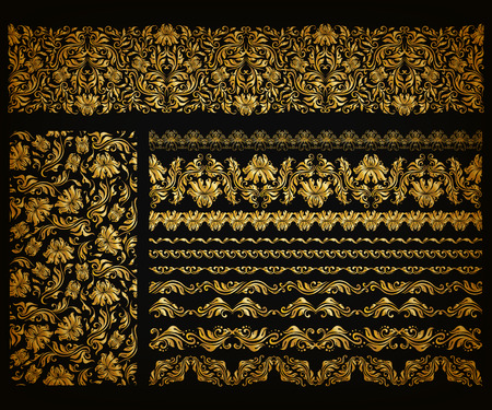 riches: Set of horizontal golden lace pattern, decorative elements, borders for design. Seamless hand-drawn floral ornament on black background. Page, web site decoration.  Illustration
