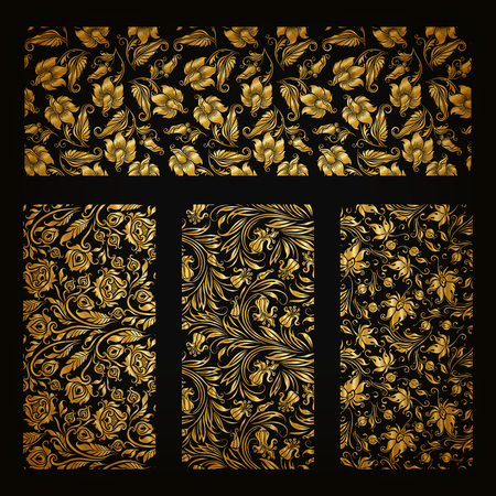 ornamental pattern: Set of horizontal golden lace pattern