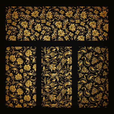 gold floral: Set of horizontal golden lace pattern