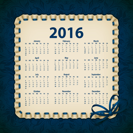 fashion week: Elegant template for 2016 calendar year with lace ornament