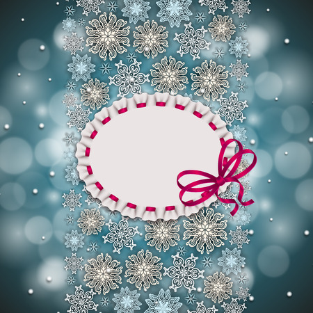 for text: New Years background with snowflakes, shiny stars, ribbon, lace frame, ruffles, place for text for greeting card, invitation, congratulation. Christmas festive background. Vector illustration  .