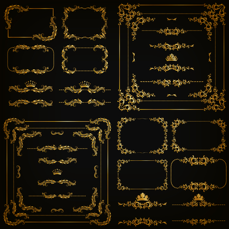 set of gold decorative horizontal floral elements, corners, borders, frame, dividers, crown on black background. Page, web site decoration.