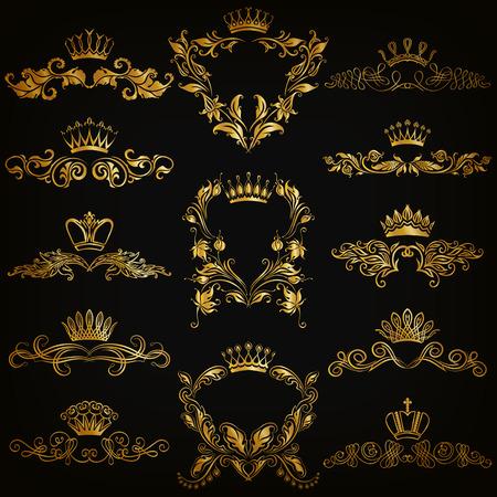 Set di monogram oro per la progettazione grafica su sfondo nero. Vettoriali