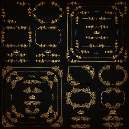 ensemble d'éléments décoratifs en or horizontaux floraux, coins, frontières, cadre, diviseurs, couronne sur fond noir. Page, site web décoration.