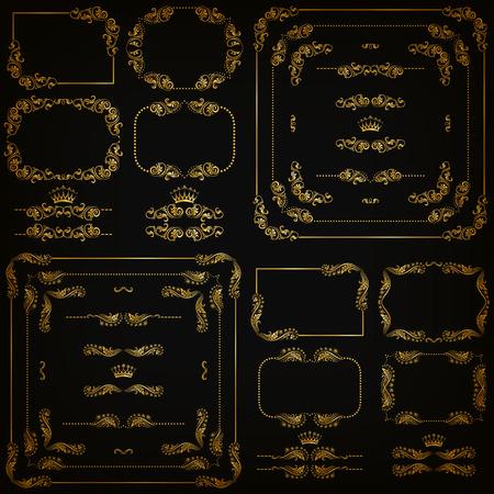 bordes decorativos: conjunto de elementos decorativos horizontales de oro florales, esquinas, bordes, marcos, divisores, corona sobre fondo negro. Página, la decoración del sitio web.