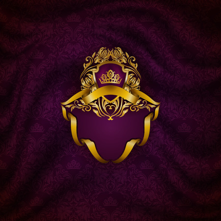 Elegant golden frame with floral elements, filigree ornament, gold crown, shield, ribbons, place for text on purple drapery fabric. Luxury ornate background in vintage style. Illustration