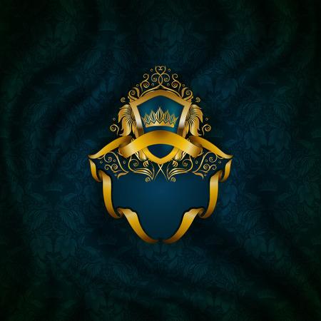 fondo elegante: marco de oro elegante con elementos florales, ornamentos de filigrana de oro, corona, escudo, cintas, el lugar de texto en la tela de la pañería azul. Fondo adornado de lujo en estilo vintage.