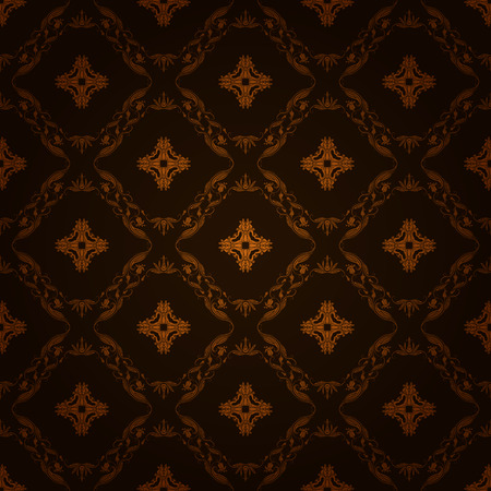 brown background: Damask seamless floral pattern. Royal wallpaper. Flowers on a dark brown background.
