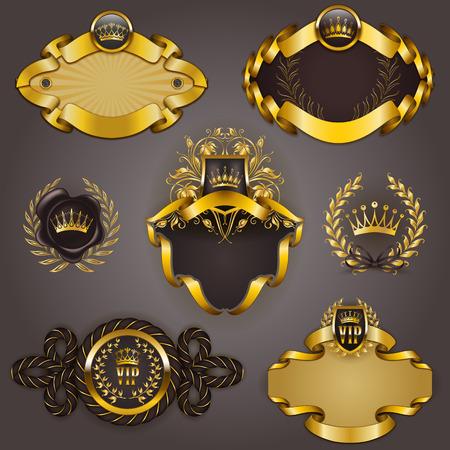 Conjunto de modelos elegantes para marcos de oro VIP con coronas de laurel sobre fondo gris. frontera de filigrana, corona de estilo vintage para el diseño gráfico de la tarjeta del club, logotipo, icono.
