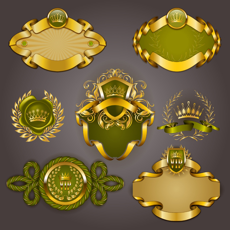 crown logo: Set of elegant templates for gold vip frames with laurel wreaths on gray background. Filigree border, crown in vintage style for graphic design of club card, logo, icon.