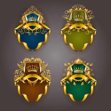 Set of golden royal shields for graphic design on background. Old graceful frame, border, crown, floral element, ribbon in vintage style for icon, label, emblem, badge, logo.