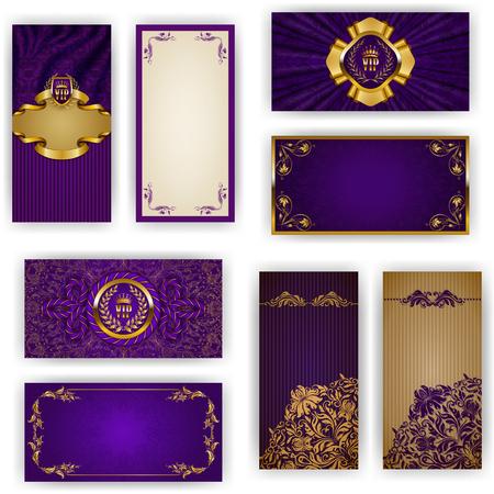 Set van elegante sjabloon voor vip luxe uitnodiging, groet, gift card met kant ornament, kroon, lint, gordijnstof, plaats voor tekst. Bloemen elementen, overladen achtergrond. Vector illustratie EPS 10