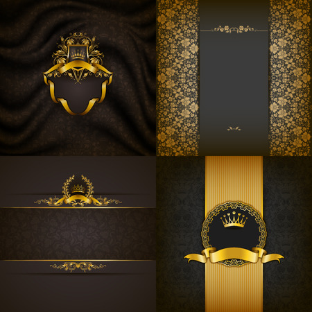 Set of luxury ornate backgrounds in vintage style. Elegant frame with floral elements, filigree ornament, gold crown, shield, ribbons, place for text on gray drapery fabric. Vector illustration EPS10
