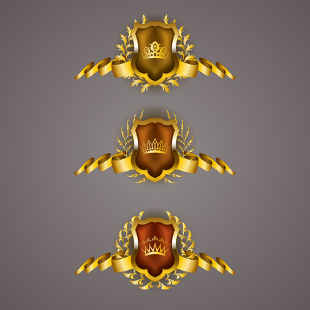 Set of luxury golden vector shields with laurel wreaths, crowns, ribbons. Royal heraldic emblem, icons, label, badge, blazon, monogram for web, page design.