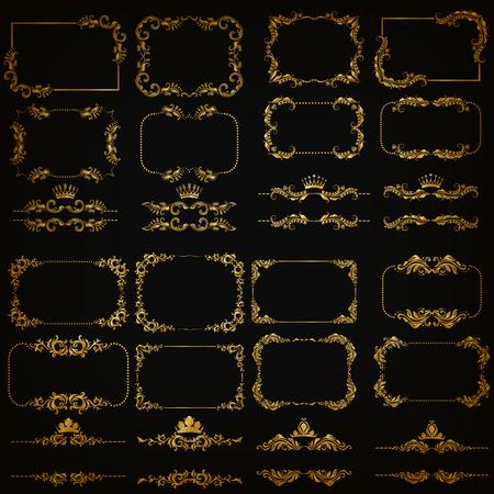 victorian frame: set of gold decorative horizontal floral elements, corners, borders, frame, dividers, crown on black background. Page, web site decoration.