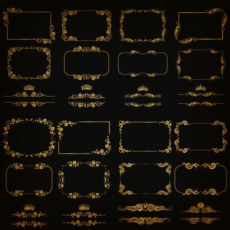 floral decoration: set of gold decorative horizontal floral elements, corners, borders, frame, dividers, crown on black background. Page, web site decoration.