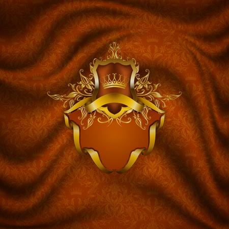 Élégant cadre doré avec des éléments floraux, ornement en filigrane, couronne en or, bouclier, rubans, place pour le texte sur un tissu de draperie orange. Fond orné de luxe dans un style vintage.
