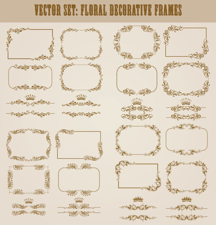 wedding gift: set of decorative  border, divider, frame with floral elements for design of invitation, greeting, wedding, gift card, certificate, diploma, voucher. Page decoration in vintage style.