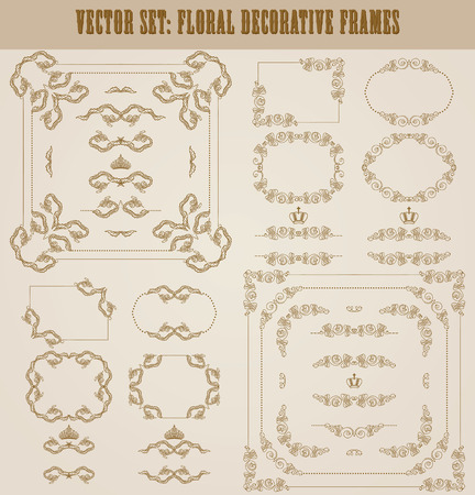 vintage frame vector: Vector set of decorative hand drawn border, divider, frame with floral elements for design of invitation, greeting, wedding, gift card, certificate, diploma, voucher. Page decoration in vintage style.