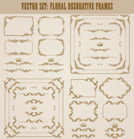 wedding border: Vector set of decorative hand drawn border, divider, frame with floral elements for design of invitation, greeting, wedding, gift card, certificate, diploma, voucher. Page decoration in vintage style.