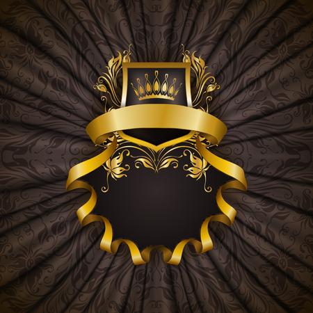 Marco de oro elegante con elementos florales, ornamentos de filigrana de oro, corona, escudo, cintas, el lugar de texto en la tela para cortinas grises. Foto de archivo - 59464222