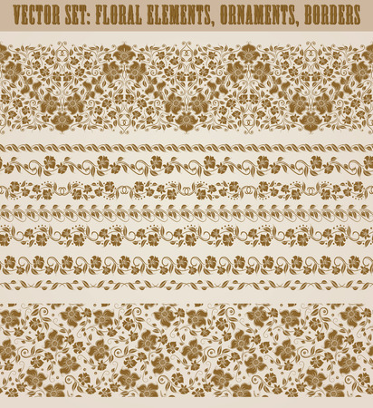 decoration style: Set of lace borders for page design of invitation, greeting, wedding, gift card, certificate, diploma, voucher. Seamless damask ornament. Page decoration in vintage style. Vector illustration.