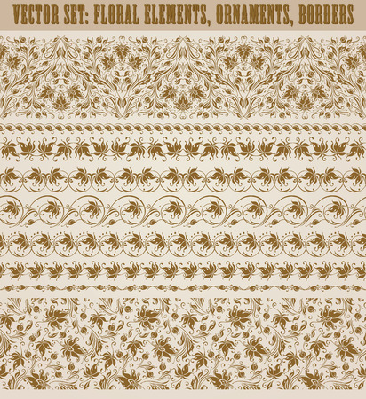 Set of lace borders for design ornate invitation, greeting, wedding, gift card, certificate, diploma, voucher. Seamless floral damask ornament. Page decoration in vintage style.