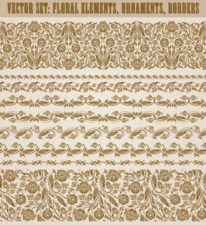 wedding gift: Set of lace borders for design ornate invitation, greeting, wedding, gift card, certificate, diploma, voucher. Seamless floral damask ornament. Page decoration in vintage style.
